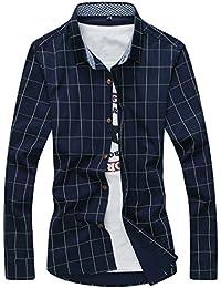 [スゴフィ]SGFY ドレスシャツ メンズ 長袖 スリム ビジネス カジュアル シンプル おしゃれ 襟付き カッターシャツ フィット チェック柄 (2XL, ネイビー)