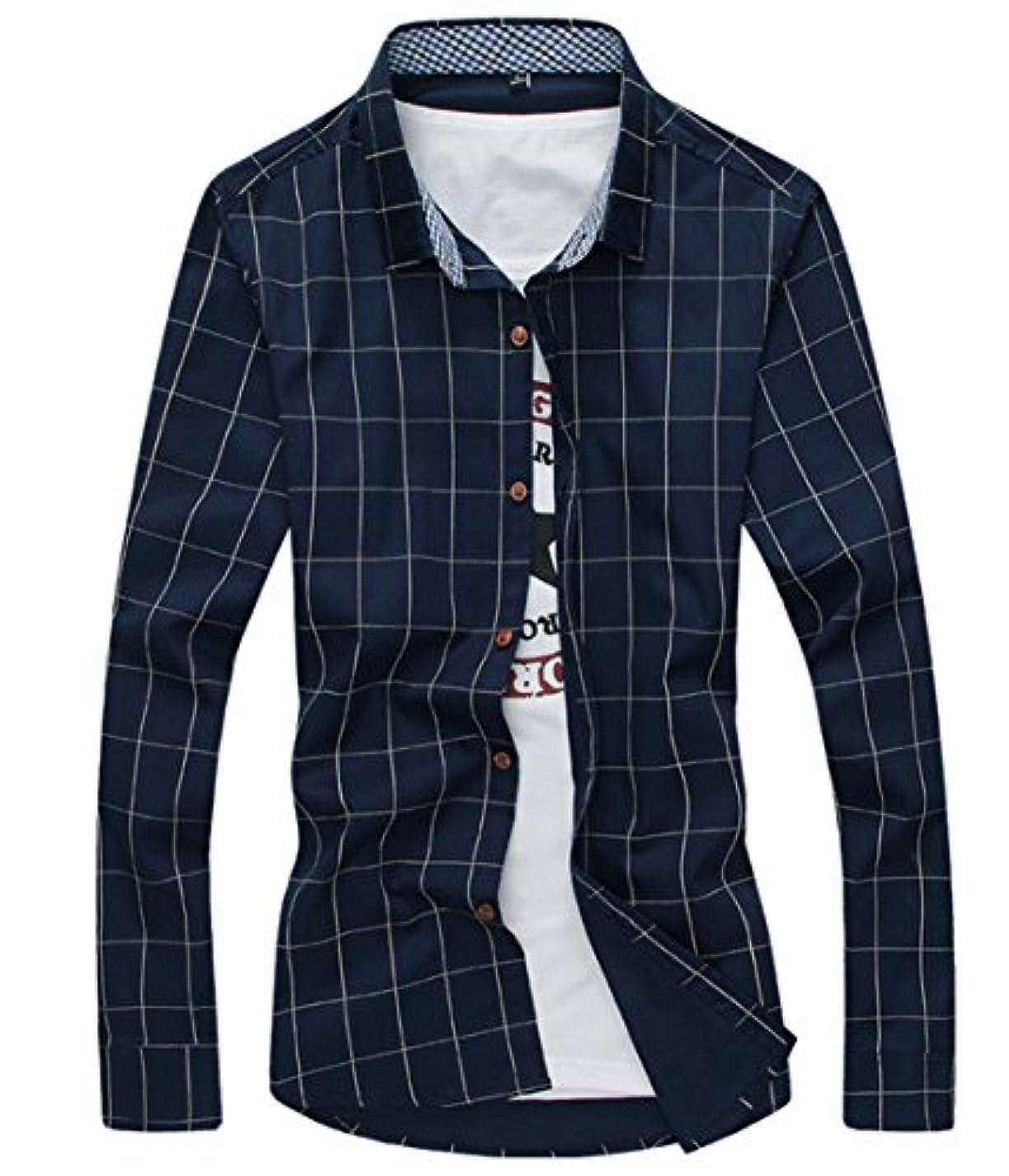 レコーダーマスタードほかに[スゴフィ]SGFY ドレスシャツ メンズ 長袖 スリム ビジネス カジュアル シンプル おしゃれ 襟付き カッターシャツ フィット チェック柄 (3XL, ネイビー)