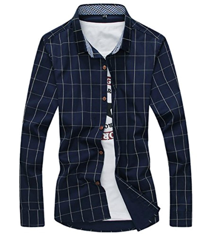 [スゴフィ]SGFY ドレスシャツ メンズ 長袖 スリム ビジネス カジュアル シンプル おしゃれ 襟付き カッターシャツ フィット チェック柄 (L, ネイビー)