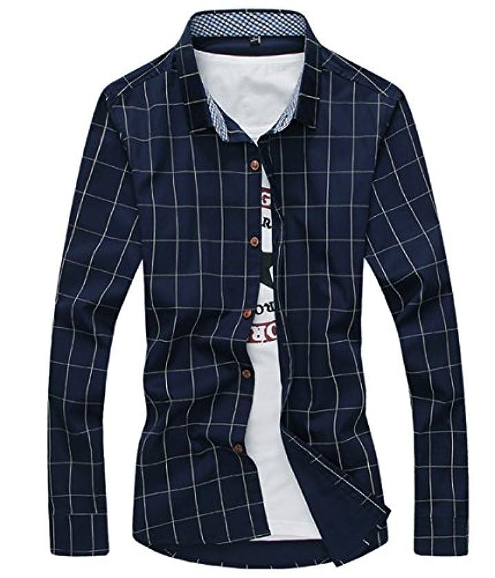 肉屋ベスト極めて[スゴフィ]SGFY ドレスシャツ メンズ 長袖 スリム ビジネス カジュアル シンプル おしゃれ 襟付き カッターシャツ フィット チェック柄 (6XL, ネイビー)