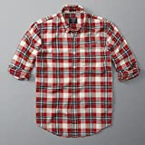 Abercrombie&Fitch アバクロ 長袖チェック ボタンダウンシャツ Plaid Herringbone Button-Up Shirt 125-168-2374-509 (M) [並行輸入品]