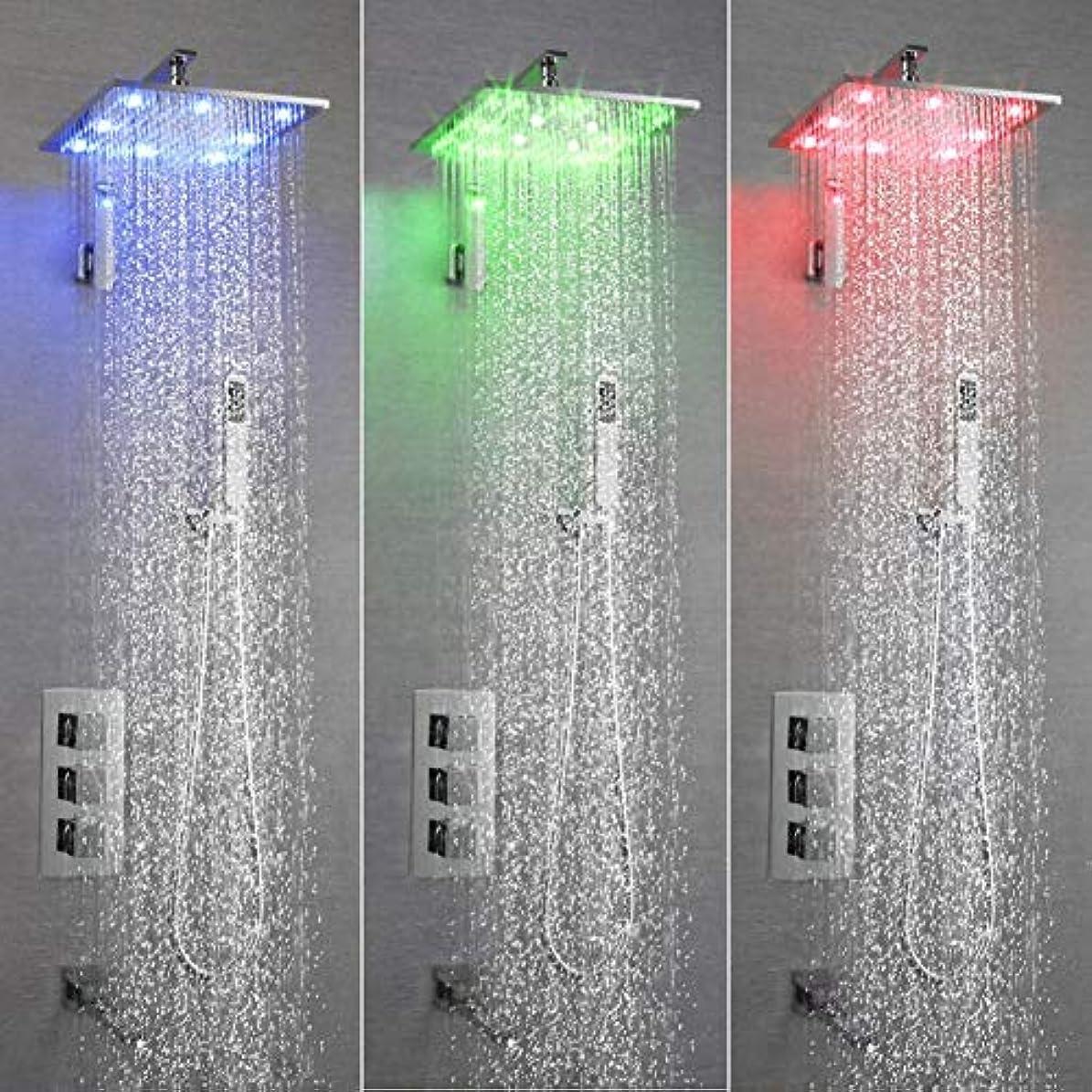 鏡ライター数字シャワーシステムLED浴室シャワーミキサーセット温度制御変色サーモスタット3機能シャワーヘッド銅バスルームシャワー蛇口セット (サイズ : 25x25cm)