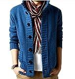 (ベクー)Bekoo メンズ 無地 ニット カーディガン 可愛い オシャレ ドンキー襟 デザイン vネック セーター (28 ブルー XXL)