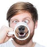 プレゼントのコップ、創意コップ、面白い豚鼻カップ、セラミックマグカップのコーヒーカップ (犬)