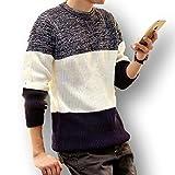 秋 冬 あったか 防寒 3色 ボーダー セーター メンズ Ⅿ Ⅼ XL 黒 白 赤 紺 ブラッ...