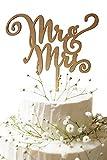 Lumierechat 結婚式 ウェディング ケーキトッパー ウェディングケーキ ケーキ トッパー 飾り 木製 Mr&Mrs デコレーション a-7446 (E(Mr&Mrs Right), 木製)