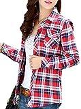 (アリルチョウ) Aguilucho チェック シャツ レディース 長袖 胸元 ポケット 付き M レッド