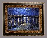 BiblioArt Series V.V.ゴッホ 「ローヌ川の星月夜」 黒金縁額装品1