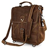 Everdoss Mens Genuine Leather Retro Shoulder Messenger Bag College School Backpack Rucksack Casual Daypack Crossbody Pack for Traveling Biking Cycling [並行輸入品]