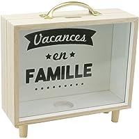 貯金箱 賽銭箱 コインケース おしゃれ インテリア 透明 木製フレーム 取っ手付き 収納ボックス