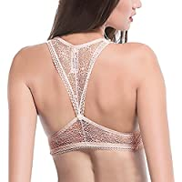 Camellias Womens Lace Bralette Racerback Padded Wireless Crop Top Wide Strappy Bra