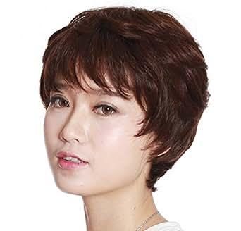 ウィッグ ショート  医療用  100%人毛 フル 手植えネット FESHFEN  wig KY03140907