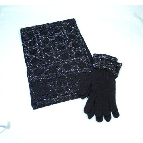 ディオール Dior マフラー&グローブ カジューナ柄 ブラック×シルバー