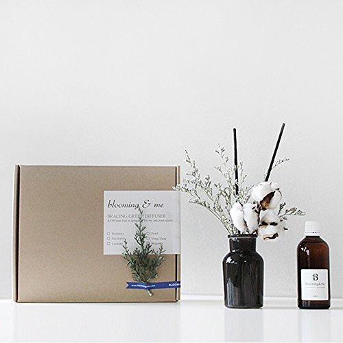 【Blooming&me】お部屋に置くだけ Autumn&Winter ディフューザー【自然の恵み】木の花 フレグランス ディフューザー「フレグランス全6種類」 (ベルガモットの香り) (ミスティブルー+木の花(ダークグレー花瓶)) [並行輸入品]