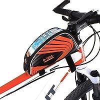 屋外スポーツタッチスクリーン5.5インチの携帯電話バッグ自転車フロントフレームバッグMTBマウンテンバイクサドルバッグ (色 : オレンジ)