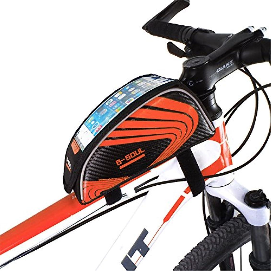 ストレージ電報フィラデルフィア自転車シートパックバッグアウトドアスポーツタッチスクリーン5.5インチ携帯電話バッグ自転車フロントフレームマウンテンバイクマウンテンバイクサドルバッグ サイクリングバッグ防水 (色 : オレンジ)