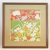 アンティークきもの きれ シルク 額付(10) 菊・桔梗, antique kimono cloth, chrysanthemum and balloon flower