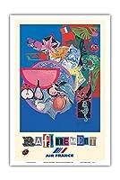 改善 - エールフランス - ビンテージな航空会社のポスター によって作成された ロジャー・ベゾンベ c.1981 - アートポスター - 31cm x 46cm