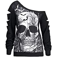 Halloween Print Sweatshirt with a Discovered Off Shoulder and Long Sleeve Top with Hollow for Women