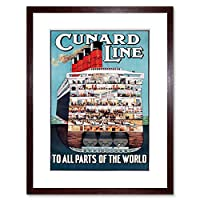 Cruise Sail Ship Cunard Cross Section Ad Framed Wall Art Print
