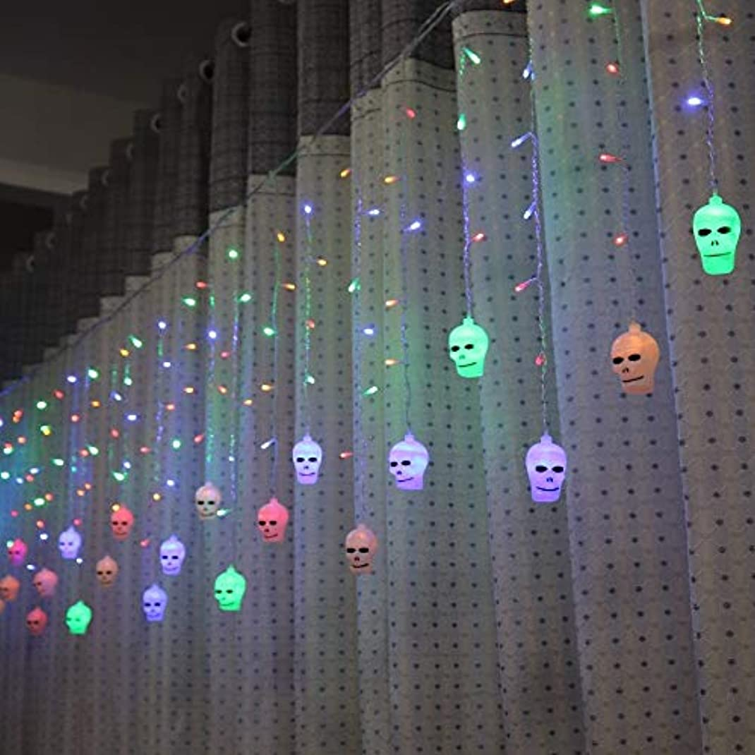 明らかにシュリンク道に迷いましたLAOHAO 3.5メートルハロウィンカーテンライト文字列スタイル休日照明寝室リビングルームハロウィン雰囲気装飾 ワンタイムデコレーション (Emitting Color : Multicolor)