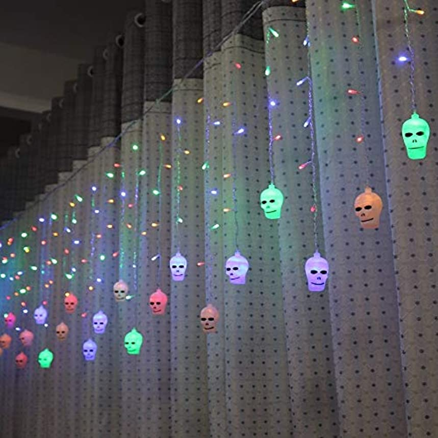 フリンジ嵐が丘暗殺者LAOHAO 3.5メートルハロウィンカーテンライト文字列スタイル休日照明寝室リビングルームハロウィン雰囲気装飾 ワンタイムデコレーション (Emitting Color : Multicolor)