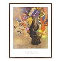 A.P.J. ポスター額装(印象派・巨匠) オディロン・ルドン フルールスダンスウンベイスノワール A1682 グラーノフレームダークブラウン