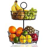 2 Tier Fruit Basket – Regal Trunk & Co. Wire Fruit Bowl or Produce Holder   Two Tier Fruit Basket Stand for Storing & Organizing Vegetables, Eggs, etc   Fruit Basket for Counter or Hanging (2 Tier)