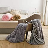Luxury Lush Super Soft Plush Blanket Faux Fur Shaggy Blanket with Crystal Fleece at Back Cosy Fluffy Long Hair Fuzzy Throws P