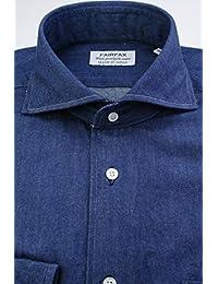 (フェアファクス) FAIRFAX デニム調のホリゾンタルワイドカラー インディゴブルー無地 綿100% 製品洗い 国産生地使用 (細身) ドレスシャツ w1889