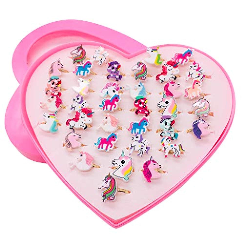 Formemory 指輪セット ペアリング カップルリング 36個セット かわいい おもちゃ 子供用 フリーサイズ 混合様式 レディース オープンリング ユニコーン パーティー プレゼント