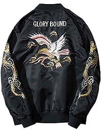 (habille)メンズ 洋風 鳥 刺繍 スカジャン フライトジャケット 5size おまけ付(2カラー)