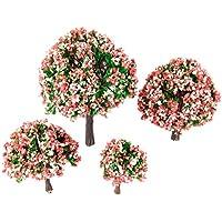 4個入りセット モデルツリー 樹木 木 桃の花 ピンク鉢植え用 鉄道模型 風景 モデル トレス 情景コレクション ジオラマ 建築模型 電車模型 HO OO Zスケール 4サイズ