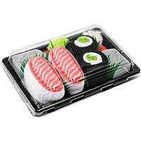Rainbow Socks - Woman Man Sushi Socks Box Salmon Cucumber Maki - 2 Pairs - Size L/XL (AU Woman 10+/Man 7.5-11)