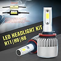 Wiseshine H11 H8 H9 6000k 72W 高効率 LED ヘッドライト一体型 COB led 電球 canbusデザイン7200 Lumen ( クールホワイト)