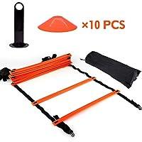 Ejoyousトレーニングラダー ラダー トレーニング マーカーコーン10枚 連結可能 サッカー練習 スポーツ練習 耐久性 畳み可能 収納袋付き(オレンジ)