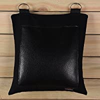 (Leather, one section) - Black Canvas Punching Wallbag For Wing Chun One-Inch Fist Practise Different Style Option