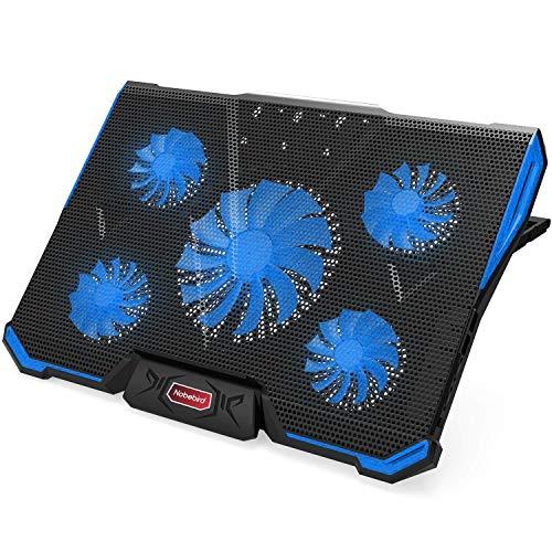 Nobelbird 冷却ファン ノートパソコン 冷却パッド 冷却台 ノートPCクーラー クール 超静音 7段階角度調整 スタンド 折りたたみ 五つ冷却ファン 2口USBポート 17インチ型まで対応 ps3 ps4 冷却 LED搭載 風量調節可 …