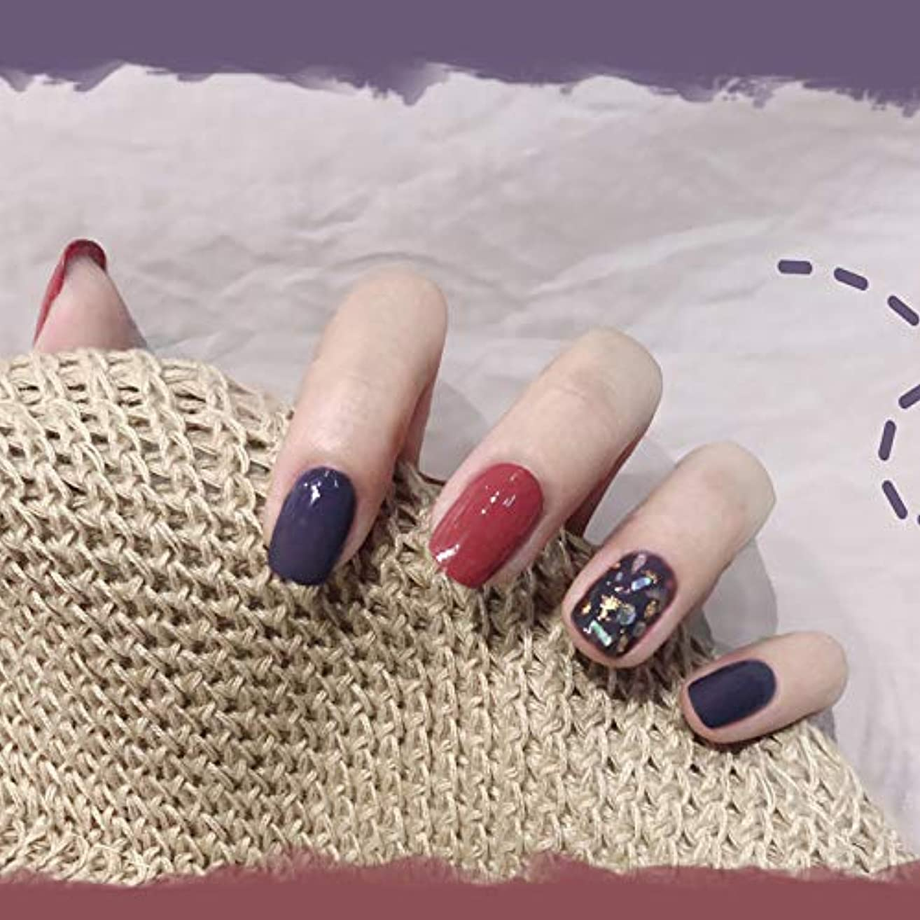 耐えられるヒゲクジラロマンチックハイエンドカラー シェル 金箔 気質 パープル 24pcs 短いさネイルチップ 森の少女 ネイル花嫁 インターネットの人気スタイル