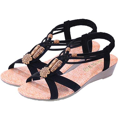 (R-Dream) リゾート感満点 ボヘミアン エスニック ビーズ LOHAS サンダル 靴 レディース ローヒール (ブラック 24.5cm)