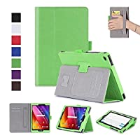 MaxKu ASUS ZenPad 10 Z301M / Z301MFL / Z301ML / Z301ML ケース高級PUレザーケース カバー 手帳型 軽量 全面保護型 スタンド機能付き スマートカバー(グリーン)