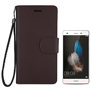 【 shizuka-will- 】Huawei P8 Lite 専用 手帳 型 ケース カバー ストラップ付 クリアポケット カード収納あり Rev2.0 ( ビターショコラ ) [ Y!mobile LUMIERE 503HW 対応 ]