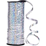 DNHCLL 5 mm Width Crimped Curling Ribbon Roll,100 Yard Metallic Silver Balloon Ribbons Strings for Parties, Festival, Florist