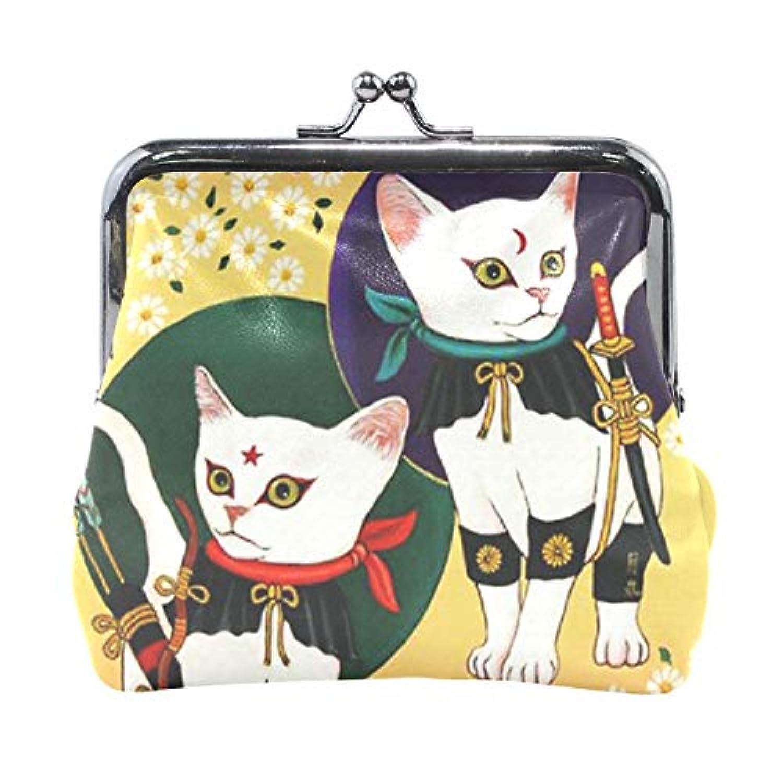 がま口 小銭入れ 財布 浮世忍者猫 コインケース レザー製 丸形 軽量 人気 おしゃれ プレゼント ギフト 雑貨