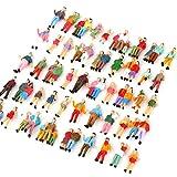 人形ランダム 100体セット レイアウト・ジオラマ・建築模型 1/87用 高2.1cm カラフル 人形モデル