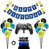 パーティー用品 誕生日パーティーデコレーション 男の子 女の子 ゲームファン ビデオゲーム 誕生日バナー ケーキトッパーバルーン 子供用