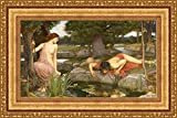 (v04 – 07 – 08 ) ジョン・_ William Waterhouse_エコー_ and Narcissus_フレーム_キャンバス_ Giclee_プリント_ w38.5 _ X h22 >[Small] #11-Gold V04-07K-MD535-01