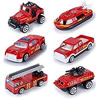 おもちゃの消防車のおもちゃのセット子供の教育のおもちゃ6個の合金の車のおもちゃ子供のための消防車を設定する ( Color : Fire truck )