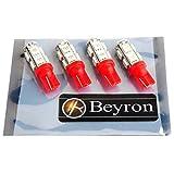 《Beyron》ベイロンLED【T10 SMD5050 9連 12V 赤】×4個 (高輝度オリジナルLED Beyron製帯電防止袋密封式パッケージ)(レッド)《012》