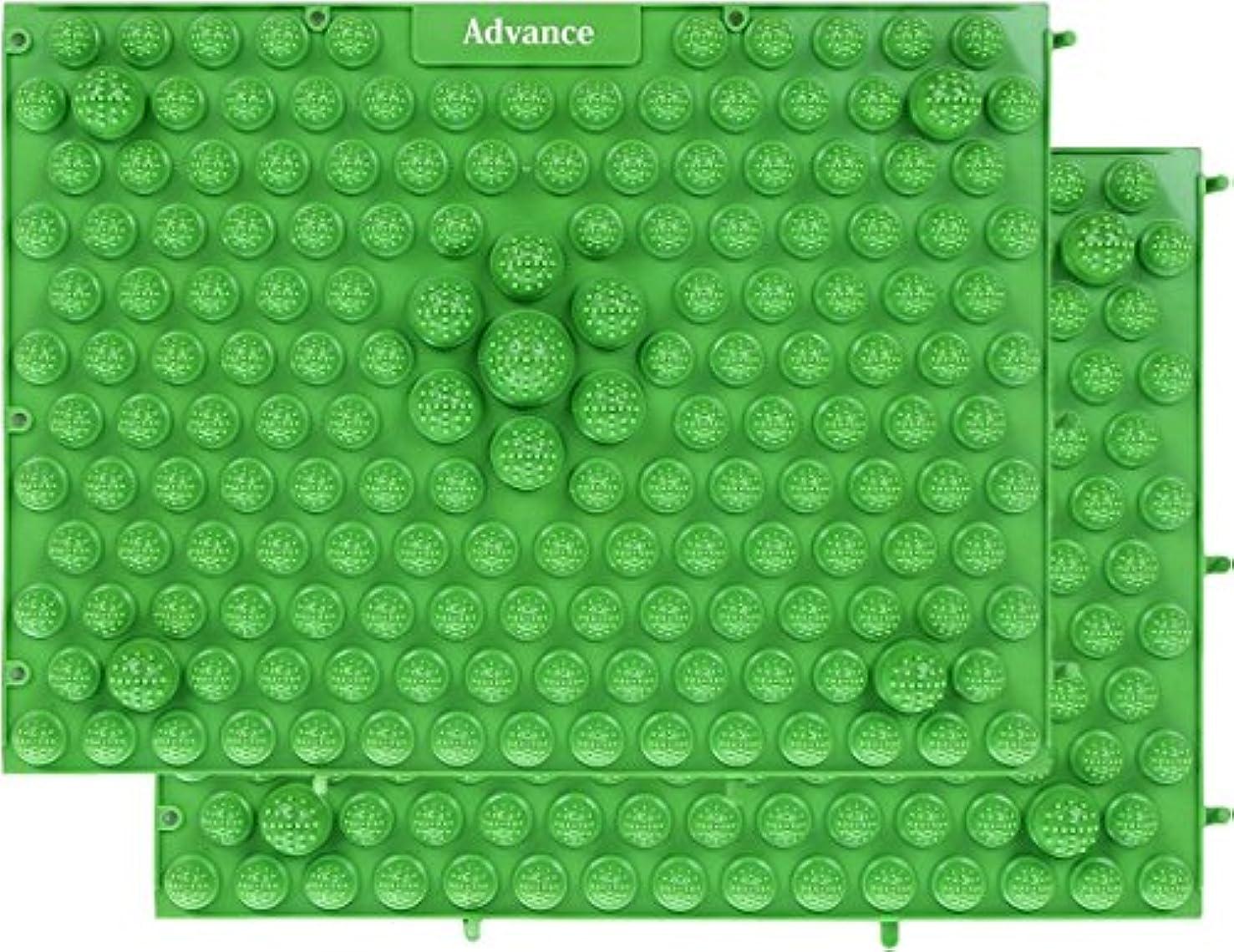 魅力的であることへのアピールオートメーションアソシエイト[OneStepAdvance] 足つぼ健康マット 足踏みマッサージ 37×27cm 2枚セット (グリーン)